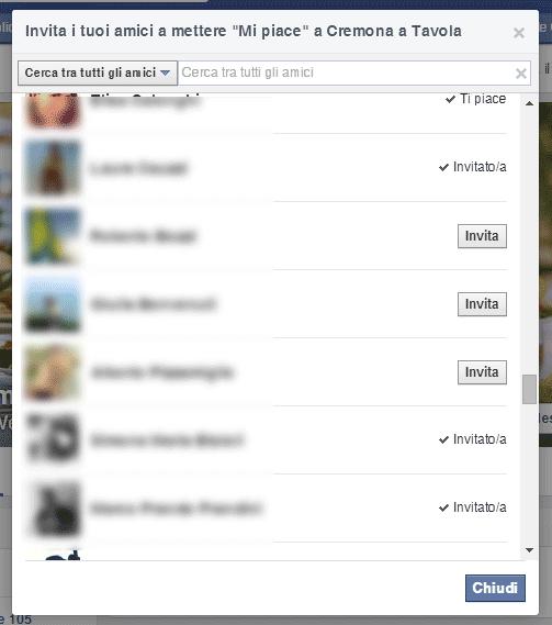 Lista degli amici da invitare per una pagina Facebook