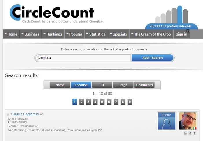 Ricerca Persone Google+ per Luogo