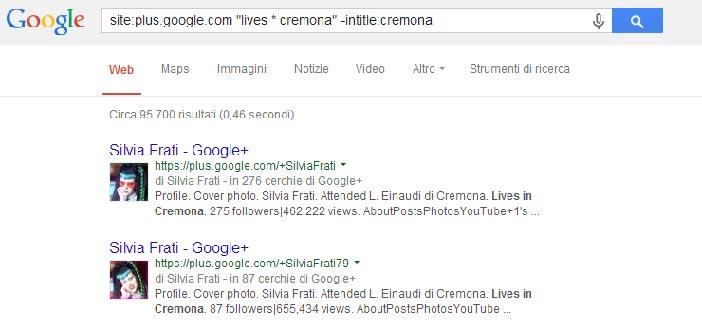 Trovare profili Google+ con Google