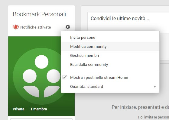 Modifica community google plus