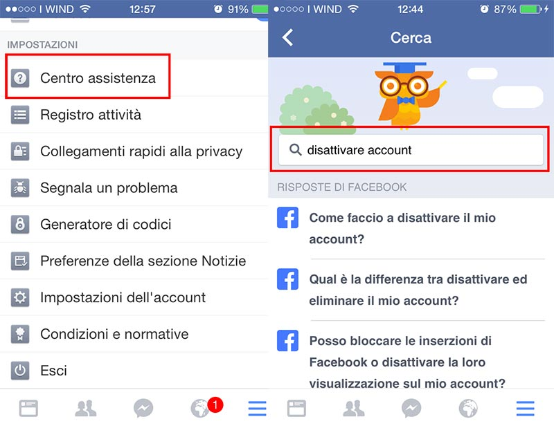 eliminare account facebook mobile
