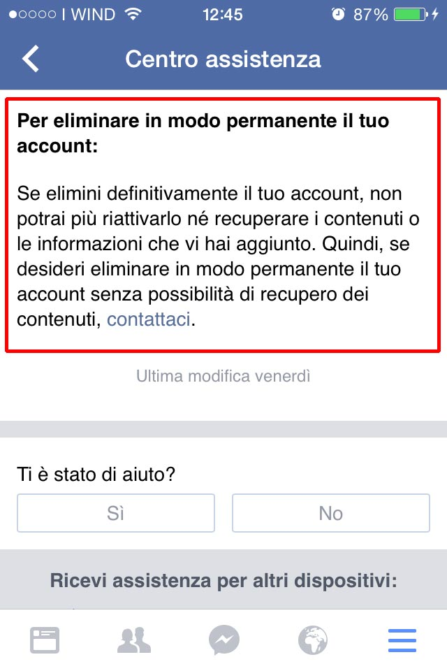eliminare account