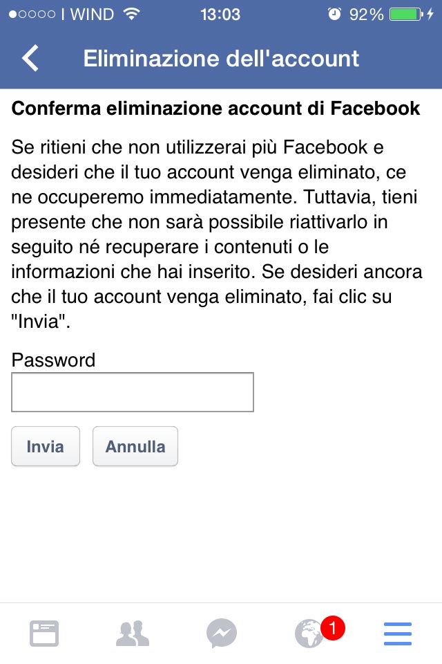 eliminare definitivamente account facebook