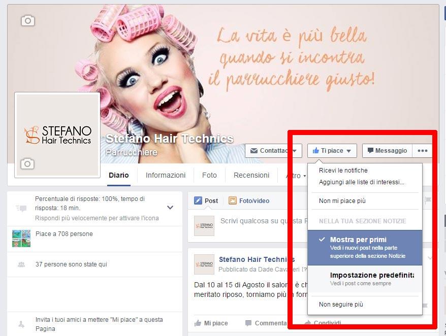 visibilità pagina facebook desktop
