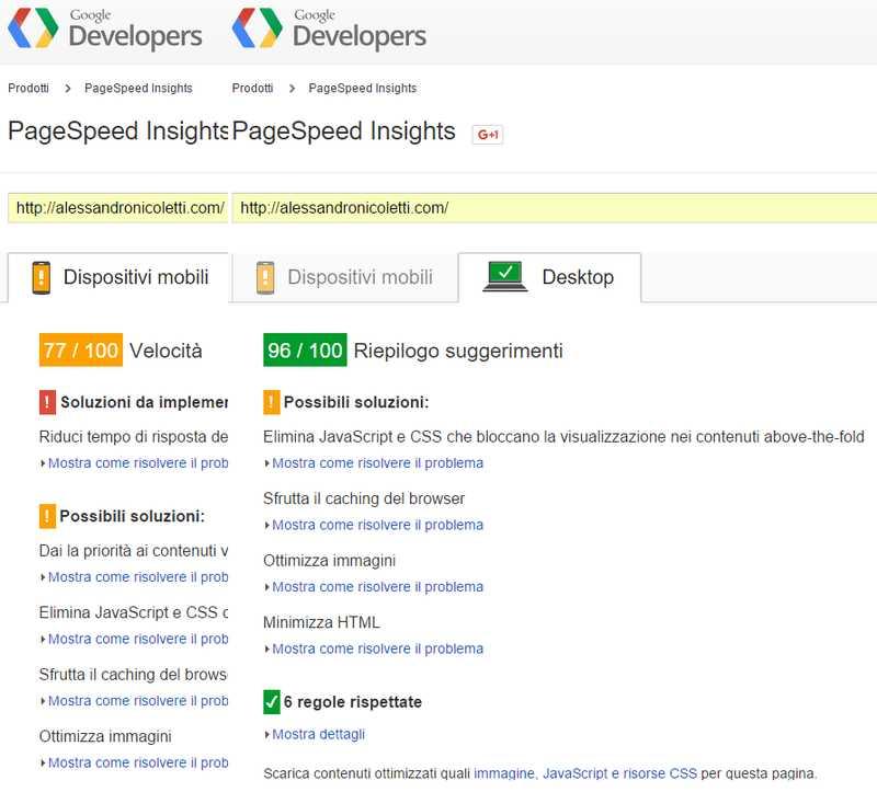 Velocità di caricamento con Google